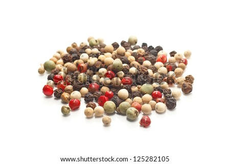 Photo of colored peppers mix on the white background isolated - stock photo