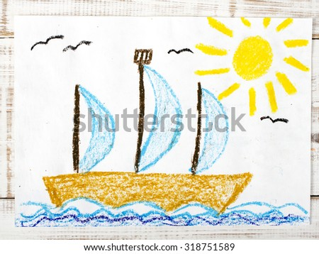 photo of colorful drawing: sailing boat  in the sea - stock photo