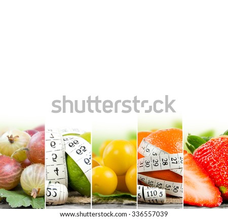 Photo of colorful fruit and vegetable mix with white measuring tape and white space; concept of fitness