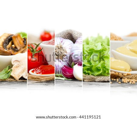 Photo of colorful mix stripes with food ingredients; healthy eating concept; white space for text - stock photo