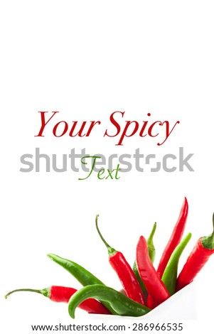 Photo of colorful peppers over white isolated background - stock photo