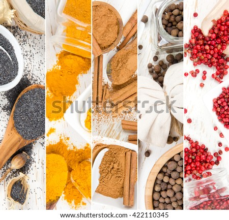 Photo of colorful spice mix on white wooden surface; top view