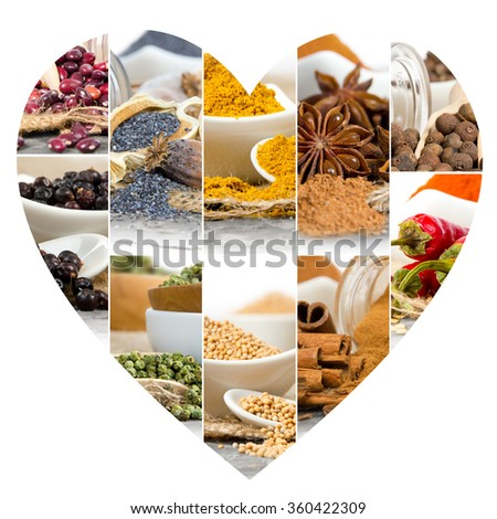 Photo of colorful spice mix with heart shape - stock photo