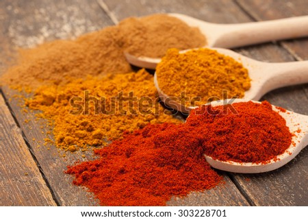 Photo of colorful spices over wooden table