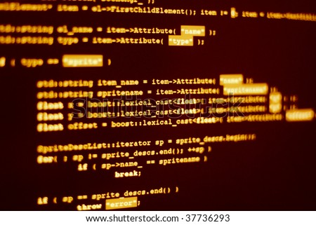 """Photo of computer screen with program code displayed in hacker color. Shallow depth of field places word """"lexical"""" in focus - stock photo"""