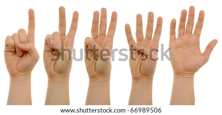 photo of counting hands with clipping paths - stock photo