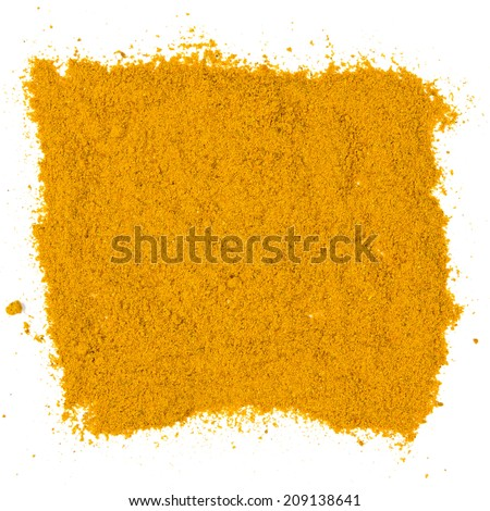 Photo of curry powder with text isolated on white