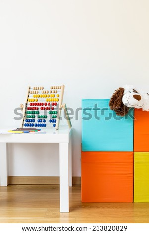 Photo of cute clean playroom for kids - stock photo