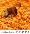 Photo of cute little boy having fun in autumn park, pretty child sitting on dry old orange foliage in woods, small kid playing with fall trees leaves in the forest, happy and carefree childhood - stock photo
