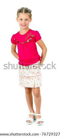 photo of cute little girl in colored clothes on white background - stock photo