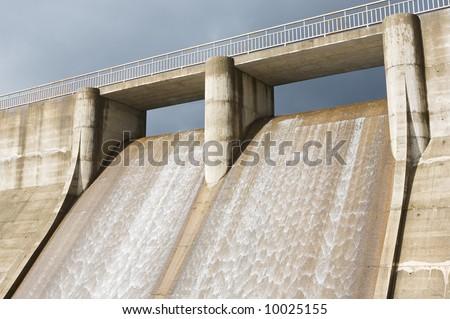 Photo of dam water to generate energy - stock photo