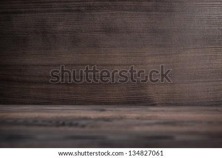 photo of dark brown wooden background texture - stock photo
