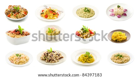 photo of delicious italian pasta and rice dishes putted into a collage - stock photo