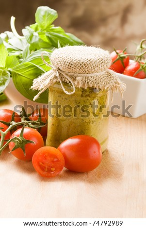 photo of different ingredients for preparing pesto sauce