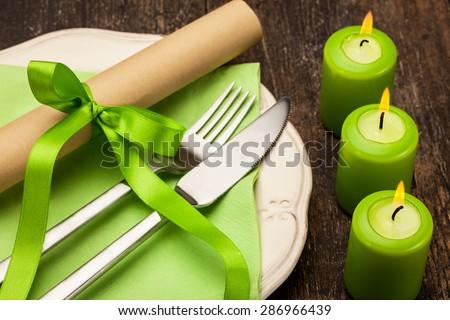 Photo of dinner invitation with menu - stock photo