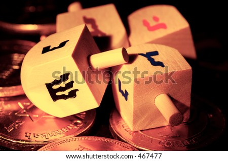 Photo of Dreidels and Gelt - stock photo