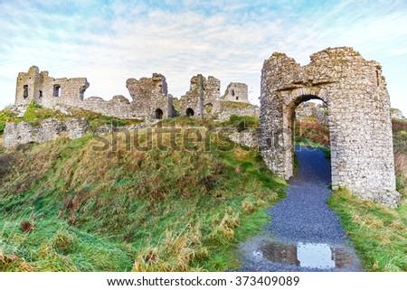 Photo of Dunamase castle ruins in Ireland - stock photo