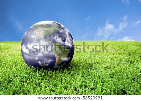 photo of earth in grass ideal for background - stock photo