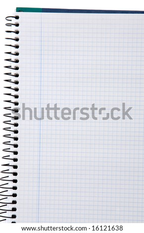 Photo of empty notebook over a white background