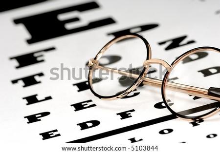 Photo of Eyeglasses on a Eye Chart - Optometry Concept - stock photo