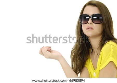 photo of fashion girl wears sunglasses - stock photo