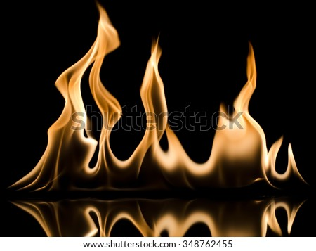 Photo of fire on a black - stock photo