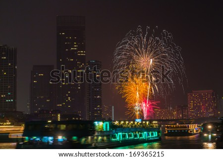 photo of Firework countdown 2014 at chaopraya river view Bangkok Thailand