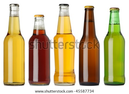 Photo of five different full beer bottles with no labels. Separate clipping path for each bottle included. Five separate photos merged together. - stock photo