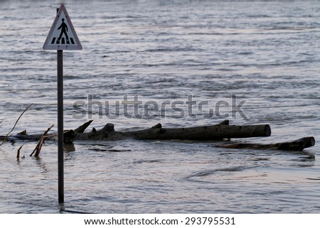 Photo of flooding of the Danube in Budapest - stock photo
