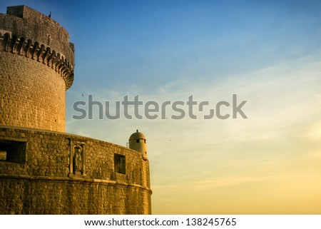Photo of fort Min?eta at sunset in historic town Dubrovnik, Croatia