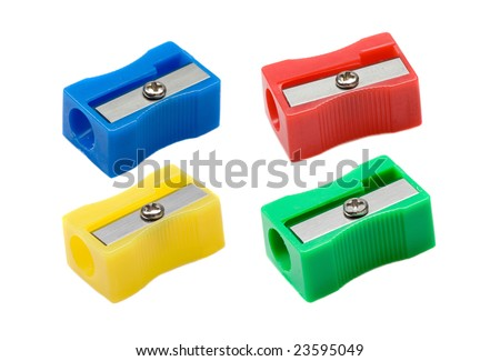 Photo of four pencil-sharpener on a over white background - stock photo