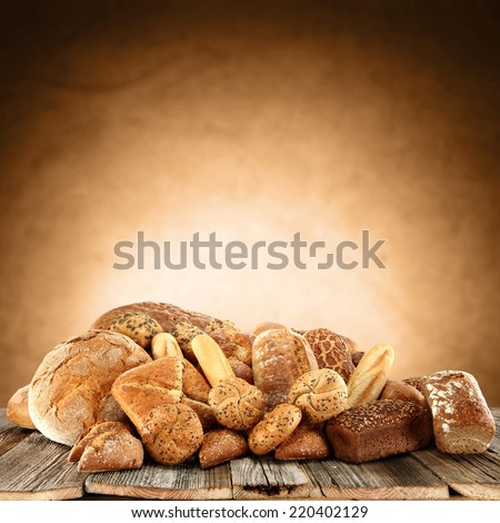 photo of fresh bread and wall of brown color