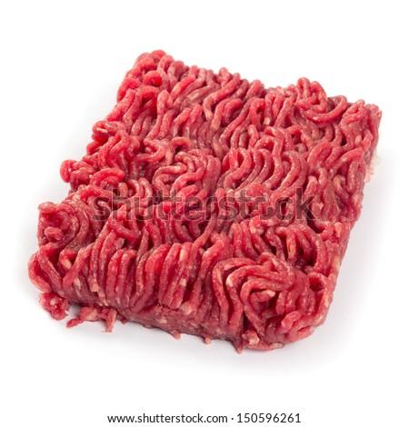 Photo of fresh ground beef on white background. - stock photo