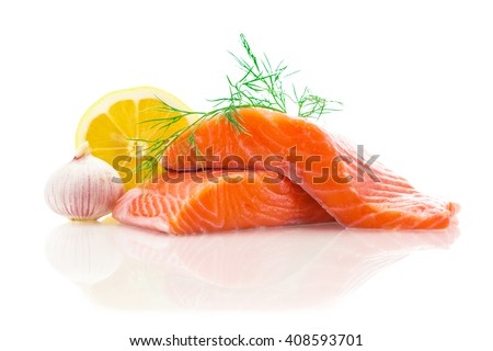 Photo of fresh tasty salmon over white isolated background