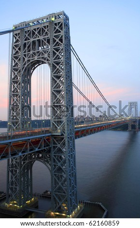 Photo of George Washington Bridge connecting New York and New Jersey as viewed from Fort Lee, New Jersey.  Photographed June, 2007. - stock photo
