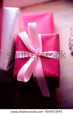 photo of Gifts for holiday. Holidays Christmas, birthday, Valentine's Day.