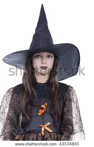 Photo of girl in halloween costume and looking serious - stock photo