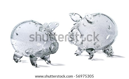 photo of glass piggy bank on white background