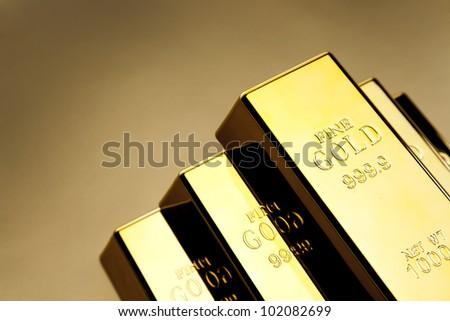Photo of gold bars, studio shots, closeup - stock photo