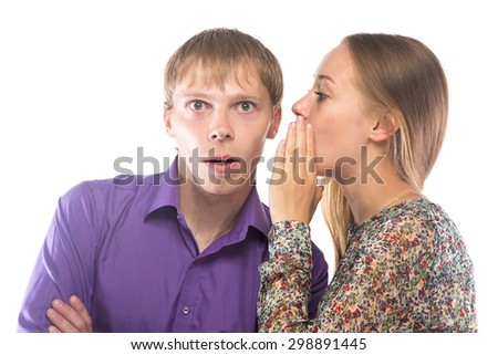Photo of gossiping woman and blond man on white background