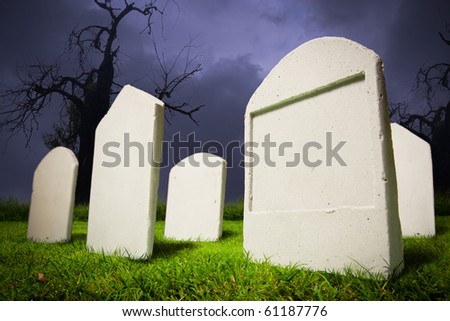 photo of graveyard at halloween - stock photo
