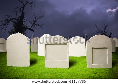 photo of graveyard at halloween - stock photo