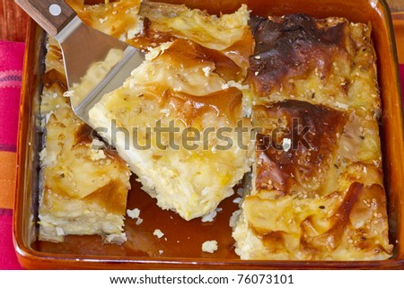 photo of greek traditional cheese pie