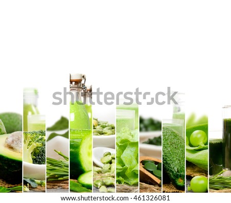 Photo of green vegetable, seeds and superfood abstract mix slices with drinks; healthy eating, dieting and detoxication concept; white space for text