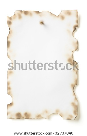 Photo of grunge paper nailed with spike isolated on white