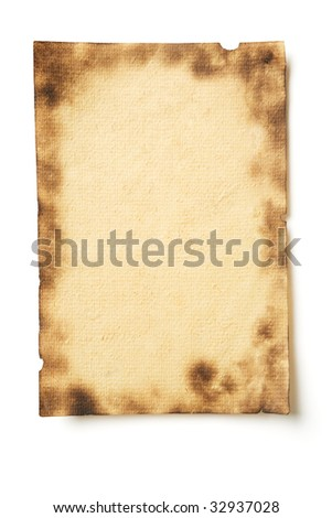 Photo of grunge parchment isolated on white