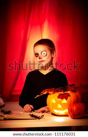 Photo of halloween boy looking at camera - stock photo