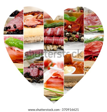 Photo of ham and salami mix with herbs and spice; heart shape, white space for text - stock photo