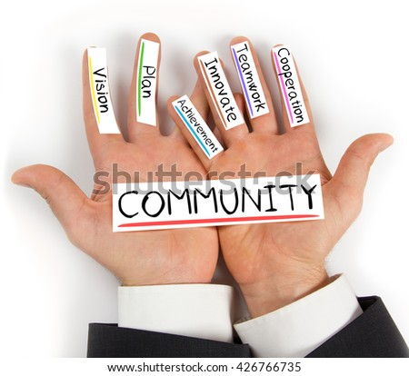 Photo of hands holding paper cards with COMMUNITY concept words - stock photo
