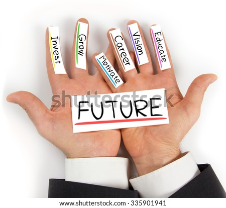 Photo of hands holding paper cards with concept words - stock photo